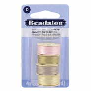 Beadalon Nymo Wire 0.3mm 4-pack Pink, Sand Ash Grey, Creme White, Gold