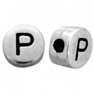 Metal-look beads letter P Antique Silver