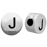 Metal-look beads letter J Antique Silver