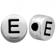 Metal-look beads letter E Antique Silver