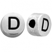 Metal-look beads letter D Antique Silver