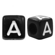 Acrylic letter beads letter A Black