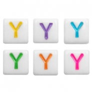 Acrylic letter beads letter Y Multicolour-White
