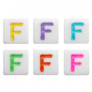 Acrylic letter beads letter F Multicolour-White