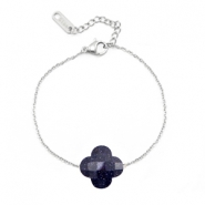 Stainless steel bracelets Sisa with fashion faceted clover Dark Blue Glitter