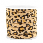 Trendy stitched cord leopard print 6x4mm Camel Brown