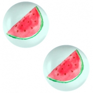 Basic cabochon 20mm Watermelon-Light Turquoise Blue