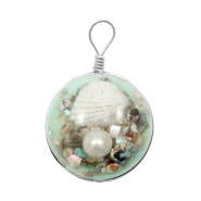 Charms with shell 20mm Turquoise Green