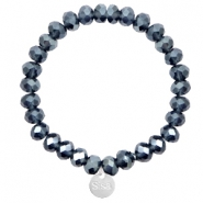 Sisa top faceted bracelets 8x6mm ( stainless steel charm) Montana Blue-Top Shine Coating