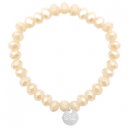 Sisa top faceted bracelets 8x6mm ( stainless steel charm) Nude Beige Rose-Top Shine Coating