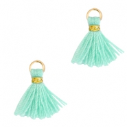 Tassels 1cm Gold-Meadow Turquoise