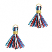 Tassels 1cm Gold-Multicolour Red Blue