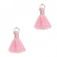 Tassels 1cm Silver-Candy Pink