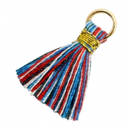Tassels 1.8cm Gold-Multi Colour Red Blue