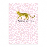 "Jewellery cards ""proud of you"" Leopard White-Pink"