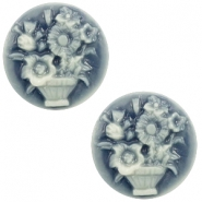 Basic cabochon cameo 20mm bouquet Dark Blue-Off White