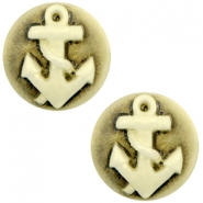 Basic cabochon cameo 20mm anchor Black-Antique Gold