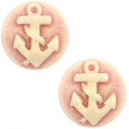 Basic cabochon cameo 20mm anchor Vintage Rose-Antique Gold
