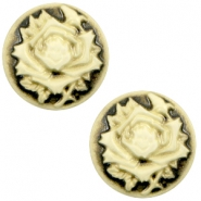 Basic cabochon cameo 20mm rose Black-Antique Gold