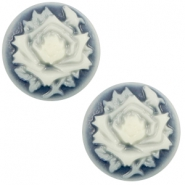 Basic cabochon cameo 20mm rose Dark Blue-Off White