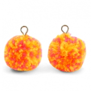 Pompom charms with loop 15mm Mix Orange-Silver