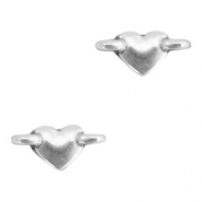 DQ European metal charms connector heart Antique Silver (nickel free)