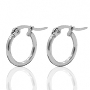 Stainless steel earrings creole 15mm Silver