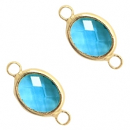 Crystal glass connectors oval 10x9mm Blue Zircon crystal-Gold