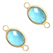 Crystal glass connectors oval 10x9mm Turquoise Blue crystal-Gold