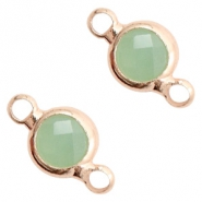 Crystal glass connectors round 6mm Crysolite Green opal-Rose Gold