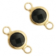 Crystal glass connectors round 6mm Black opaque-Gold