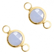 Crystal glass connectors round 6mm Air Blue opal-Gold