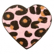 Hairy faux leather pendant heart with leopard print Pink