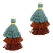 Tassels 3-layer 3.2cm Gold-Brown Blue