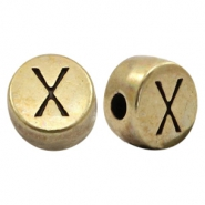 DQ European metal letter beads X Antique Bronze (nickel free)