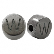 DQ European metal letter beads W Silver Anthracite (nickel free)