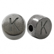 DQ European metal letter beads K Silver Anthracite (nickel free)