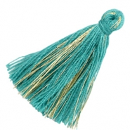 Tassels basic goldline 3cm Ocean Green