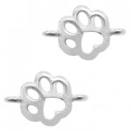 DQ European metal charms connector dog paw Antique Silver (nickel free)
