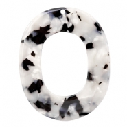Resin pedants oval 48X39mm Black-White