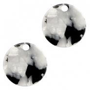 Resin pedants 19mm round Black-White