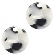 Resin pedants 12mm round Black-White