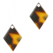 Resin pedants 15x10mm rhombus Cognac-Brown