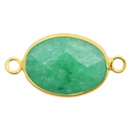 Semi-precious stone pendants/connectors oval 18x14mm jasper Gold-Light Emerald Green