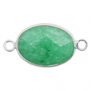 Semi-precious stone pendants/connectors oval 18x14mm jasper Silver-Light Emerald Green