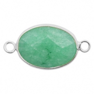 Semi-precious stone pendants/connectors oval 18x14mm Silver-Turquoise Green