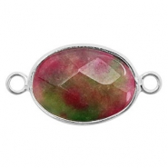 Semi-precious stone pendants/connectors oval 18x14mm China labradorite Silver-Fuchsia Green