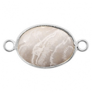 Semi-precious stone pendants/connectors oval 18x14mm howlite Silver-White Grey