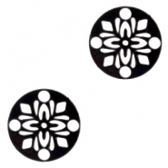 Bohemian charms round 14mm Black