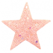 Faux leather pendants star with glitter Pink